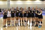 Army Women after their victory to capture the 2014 USA Women's A National Volleyball Championship.  From left to right:  1LT Jodi Corcoran (Ft. Lee, VA); SGT Kamille King (ARNG-FL); CPT Jamie Pecha (Ft. Bragg, NC); PFC Jessica Glover (Walter Reed, MD); SPC Ettie Punimata (ARNG-UT); 1LT Alysia Franco (Ft. Bragg, NC); SPC Latoya Marshall (Ft. Sill, OK); SGT Jazmine Silafau (USAG Yongsan, Korea); 1LT Alexandra Giraud (Schofield Barracks, HI); SPC Meghan Patterson (Ft. Leavenworth, KS).