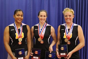 USA Volleyball All-Tournament Team selections from the Army Women's Team.  Left to right:  PFC Jessica Glover (Walter Reed, MD); CPT Jamie Pecha (Ft. Bragg, NC); 1LT Alexandra Giraud (Schofield Barracks, HI)