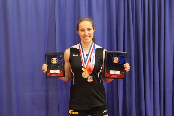 In addition to leading her team to Armed Forces and Nationals Gold, Army's CPT Jamie Pecha (Ft. Bragg, NC) was selected to All-Tournament Team and named the tournament MVP.