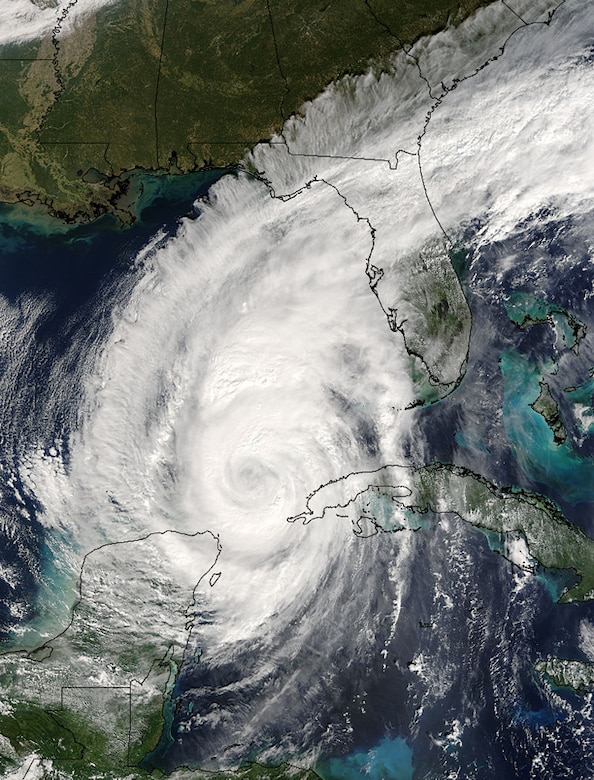 Hurricane Wilma bears down on Florida the day before it makes landfall in this satellite photo, taken October 23, 2005. Wilma was the most recent hurricane that passed over Florida, striking near Everglades City, passing in close proximity to Lake Okeechobee, and exiting the state near Jupiter.