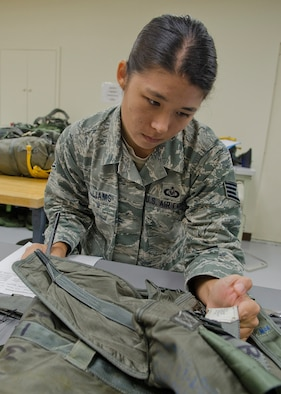 Staff Sgt. Jamie Williams, 36th Operations Support Squadron aircrew flight equipment craftsman, verifies identification numbers on a parachute pack May 20, 2014, at Andersen Air Force Base, Guam. Aircrew flight equipment Airmen manage, perform and schedule inspections, maintenance and adjustments on assigned aircrew flight equipment, defense equipment and associated supplies. (U.S. Air Force photo by Senior Airman Katrina M. Brisbin/Released)
