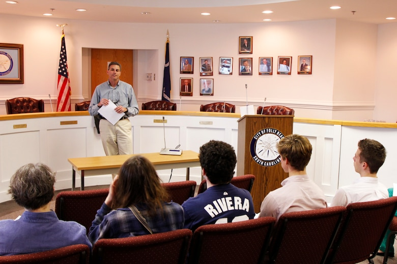 The Water Use Law class from the College of Charleston came to visit the Folly Beach Shore Protection Project to learn about the details and different issues the project had had, because that was the nature of their course. The students learned about the project at the town hall and then visited the project site.