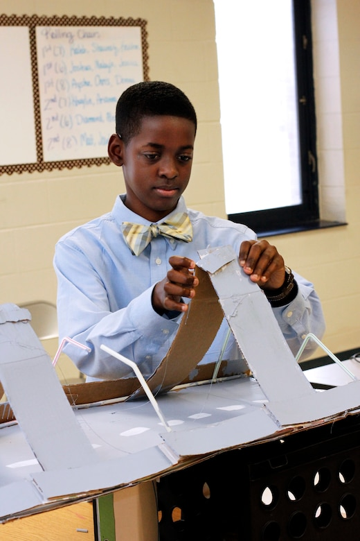 Keishon Skinner takes part in the Gateway to Technology program at Sedgefield Middle School, which develops hands-on STEM curricula for students. Skinner entered a bridge building competition through the program to learn more about STEM.