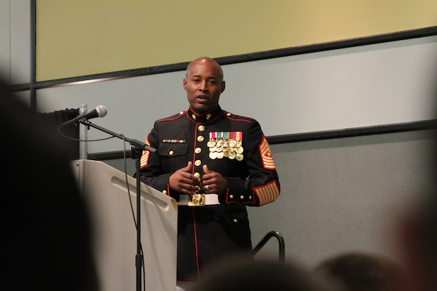 U.S. Marine Corps Sgt. Maj. Mark A. Byrd Sr., a Pontiac, Mich., native and the sergeant major of Marine Corps Base Quantico, speaks about his enlistment and the things to come in order to guide the future members of the armed services who were being recognized for their commitment to enlist directly out of high school at the Our Community Salutes' Northern Virginia Chapter recognition ceremony at George Mason University in Fairfax, Va., May 29, 2014. Our Community Salutes' Northern Virginia Chapter is an all-volunteer organization that recognizes young men and women who have chosen to join the military immediately following high school graduation. Our Community Salutes started in New Jersey in 2009 and has since spread throughout the country. (U.S. Marine Corps photo by Sgt. Amber Williams/Released)
