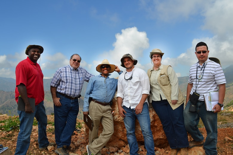 Jacksonville District's Haiti Feeder Rural Road team performed a site assessment for Mahotiere Road, in the Kenscoff region of Haiti, outside Port-au-Prince. Pictured left to right are Tony Smith, Edwin Cuebas, Pierre Massena, Stephen Meyer, Crystal Markley and Edgardo Velez.
