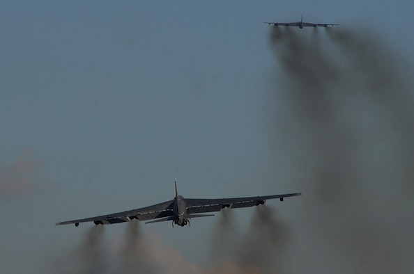 Two B-52H Stratofortress bombers assigned to U.S. Strategic Command depart Barksdale Air Force Base, La., June 3, 2014 for a short-term deployment to the U.S. European Command area of operations. U.S. Strategic Command routinely conducts training missions in support of geographic combatant commands.