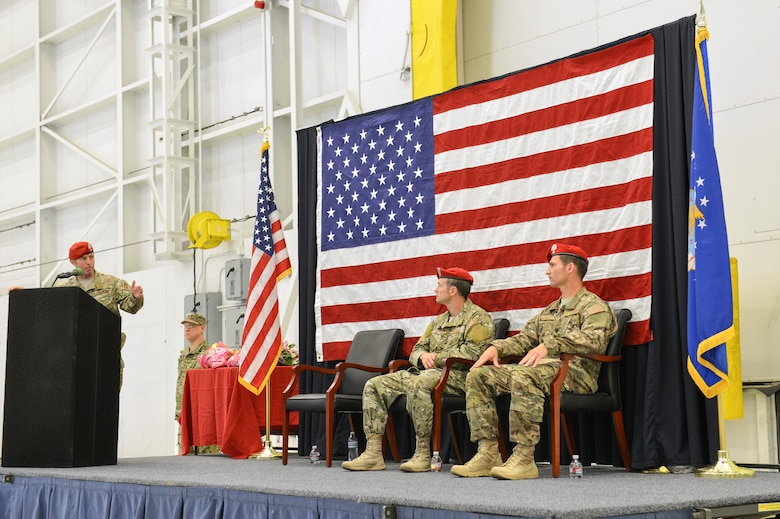 Col. Kurt Buller (left), 720th Special Tactics Group commander, explains to Lt. Col. Michael Evancic, incoming 22nd Special Tactics Squadron commander, why he specifically chose him to be the new commander for the squadron during the change of command ceremony, June 3, 2014, at Joint Base Lewis-McChord, Wash. Prior to taking command of the 22nd STS, Evancic was the director of operations for the squadron from May 2008 through June 2011. (U.S. Air Force photo/Staff Sgt. Russ Jackson)