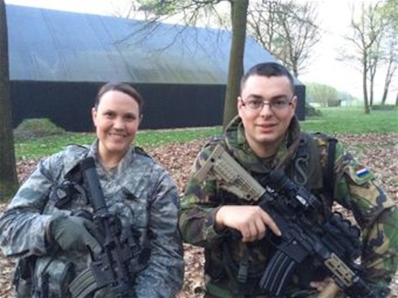 U.S. Air Force Staff Sgt. Melissa Groot and Royal Netherlands Air Force Sgt. Michael Groot