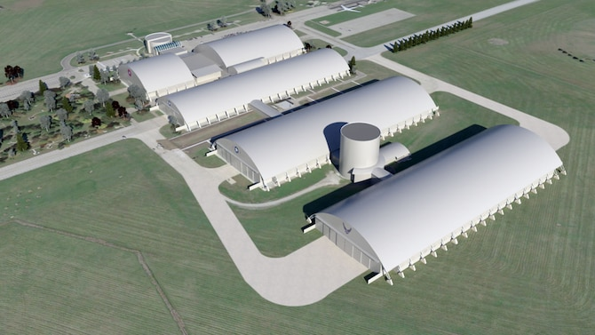 Artist rendering of the exterior of the National Museum of the U.S. Air Force's fourth building. (Updated May 2014. Subject to change.) (Graphic courtesy of BRPH Companies Inc.)
