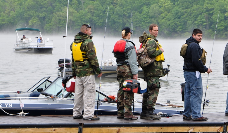 Veterans and volunteers prepare for a day of fishing at Caesar Creek Lake's Take a Warrior Fishing Event, May 17 in Waynesville, Ohio.