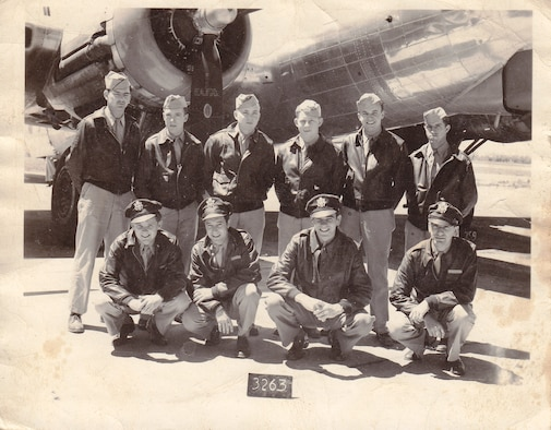 "Rae Carey's initial B-17 Flying Fortress aircrew pose for a photo at Thurleigh Airfield, England in 1944: (front row, left to right) 1st Lt. Dean Allen, pilot; 1st Lt. Charles Rapp Jr., copilot; 2nd Lt. Charles Donahue, navigator; 1st Lt. Michael Vlahos, bombardier; (back row, left to right) Tech. Sgt. Harvey Purkey, engineer and top turret gunner; Tech. Sgt. Robert Newsbigle, radio operator; Staff Sgt. Eugene LeVeque, ball turret gunner; Staff Sgt. Richard Huebotter, waist gunner; Staff Sgt. Charles Reinartsen, waist gunner; and Staff Sgt. James ""Rae"" Carey, tail gunner. Carey would fly 26 combat missions before being shot down Aug. 26, 1944, during a bombing mission to Gelsenkirchen, Germany. (Courtesy photo/Master Sgt. Matthew Carey)"