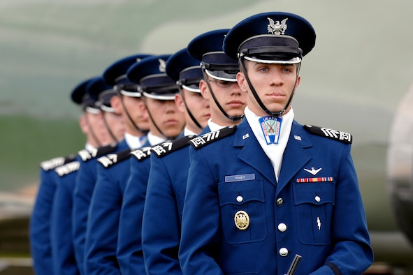 The USAFA Cadet Honor Guard stands at modified parade rest during the Academy's Homecoming Retreat Ceremony Sept. 19, 2008. (U.S. Air Force/Courtesy Photo)