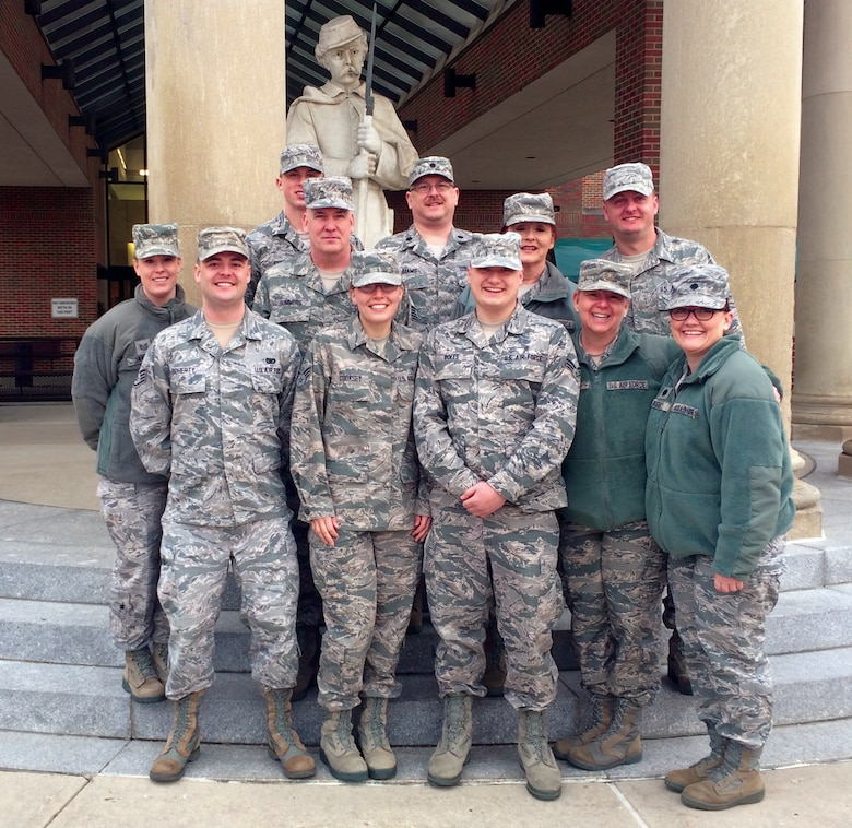WRIGHT-PATTERSON AIR FORCE BASE, Ohio - Reservists assigned to the 445th Aeromedical Staging Squadron stand on the steps outside the Dayton Veterans Affairs Medical Center Feb. 23 during their bi-monthly training. (Courtesy photo)