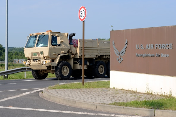 A 606th Air Control Squadron convoy departs Spangdahlem Air Base, Germany, June 2, 2014, to U.S. Air Force Aviation Detachment, Poland, for a planned aviation rotation. The 606th ACS will provide communication support to the 480th Fighter Squadron during their time in Poland. (U.S. Air Force photo by Staff Sgt. Christopher Ruano/Released)
