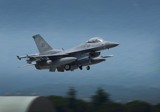An F-16 Fighting Falcon to participate in Exercise Adriatic Strike June 4, 2014, in Postojna, Slovenia. The week-long close air support exercise, which began in 2012, helps train joint terminal attack controllers' interoperability and technical expertise. The F-16 is assigned to the 555th Fighter Squadron, takes off from Aviano Air Base, Italy. (U.S. Air Force photo/Senior Airman Matthew Lotz)