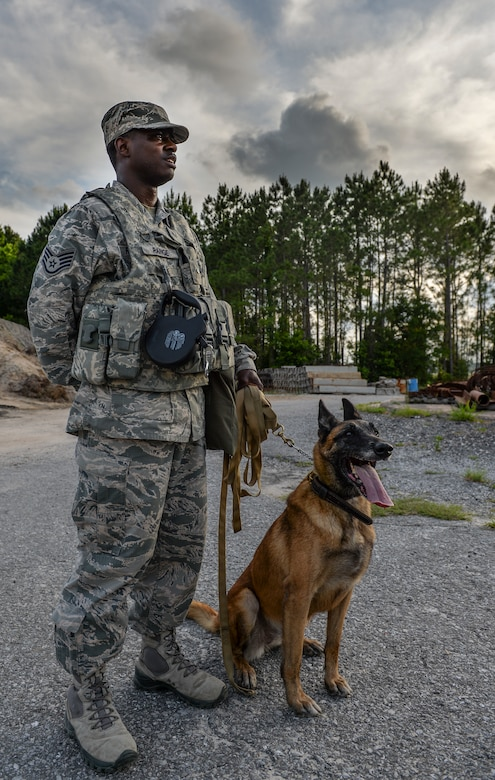 Staff Sgt. Corey Rainge, 1st Special Operations Security Forces Squadron military working dog handler and his dog Cora, stand together on Hurlburt Field, Fla., May 26, 2014. There are more than 1300 dog handler teams in the U.S. military. (U.S. Air Force photo/Senior Airman Christopher Callaway)