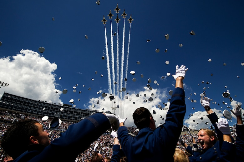The U.S. Air Force Thunderbirds fly the Delta formation May 28, 2014, over Falcon Stadium during the U.S. Air Force Academy graduation ceremony. The flyover marks the first return of the Thunderbirds to Colorado Springs since sequestration last year. (U.S. Air Force photo/Staff Sgt. Larry E. Reid Jr.)