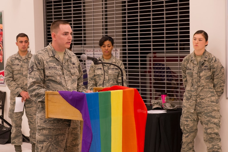 U.S. Air Force Staff Sgt. Jacob Worden, 354th Comptroller Squadron financial analysis technician, reads the Lesbian, Gay, Bisexual and Transgender proclamation during a LGBT Pride Month kick-off event June 2, 2014, Eielson Air Force Base, Alaska. President Barack Obama implemented the proclamation, which declared June as LGBT Pride Month. (U.S. Air Force photo by Senior Airman Joshua Turner/Released)