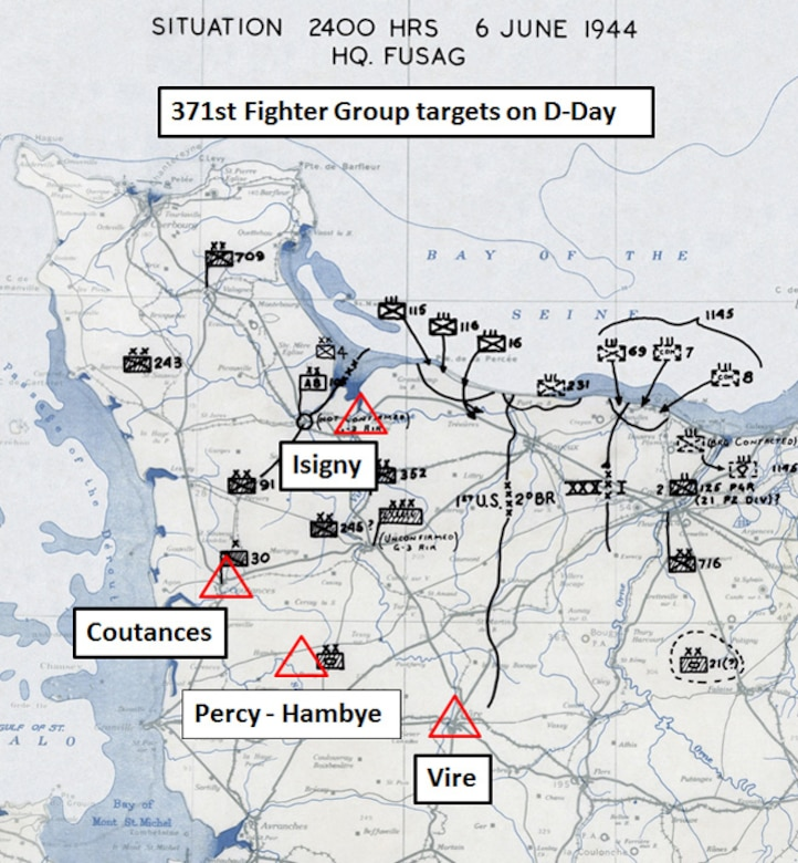 Depicted here are the target areas for the 371st Fighter Group on D-Day, 6 June 1944.  The more distant targets were struck in the first mission, while the second mission of the day took place at Isigny, nearest to the American landing beaches at Omaha and Utah.