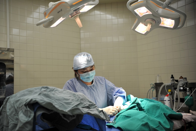 Dr. Kyongmi Kim, 106th Medical Detachment veterinarian, sutures an incision on Thor, a shih tzu, during minor surgery at the Veterinary Treatment Facility on Osan Air Base, Republic of Korea, June 3, 2014. Kim has been a veterinarian for seven years. (U.S. Air Force photo/Airman 1st Class Ashley J. Thum)