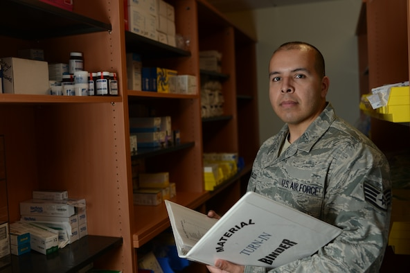 Staff Sgt. Ulices G. Pereira-Velasco, NCOIC of Dental Logistics, from Ephrata, Wash.,  is the Super Saber Performer for the week of June 5 - 11. (U.S. Air Force photo by Senior Airman Gustavo Castillo)