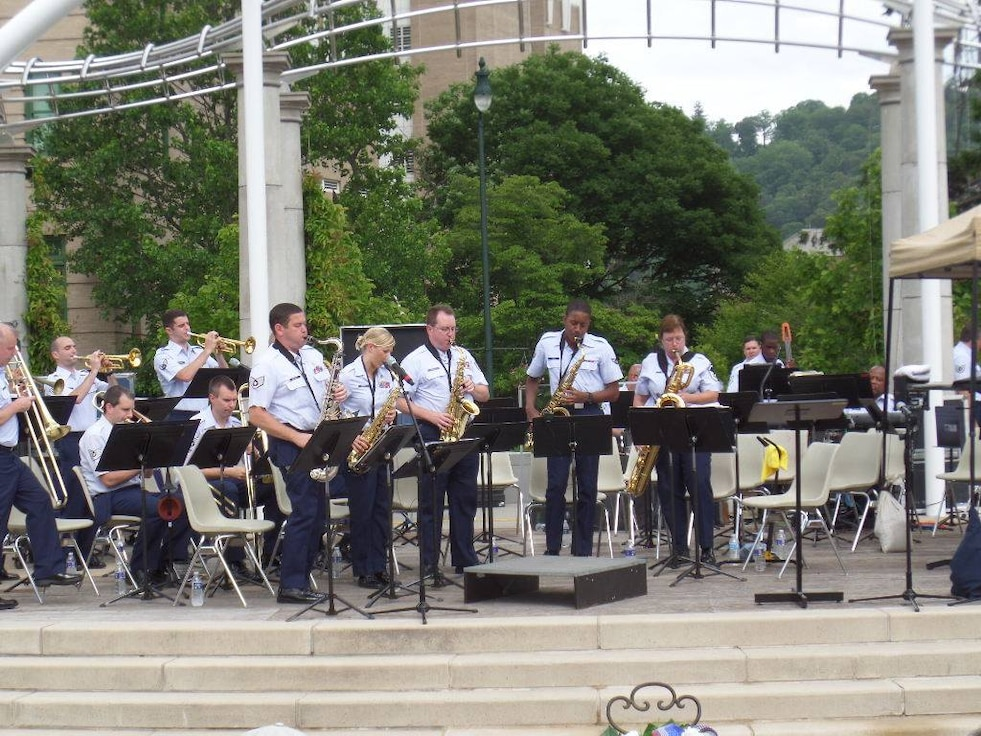 "The sax line wows during the playing of Glenn Miller's ""In the Mood"" at Pack Place Park in Asheville, NC on Memorial Day 2014"
