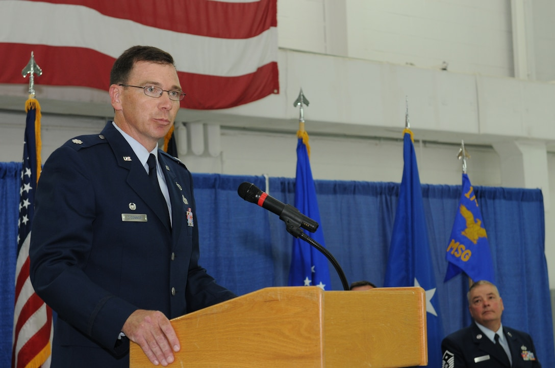 Lt. Col. John O'Connor assumes command of the 174th Attack Wing Mission Support Group on June 8, 2014 at Hancock Field, Syracuse, NY. (New York Air National Guard Photo by Tech. Sgt. Justin A. Huett/Released)