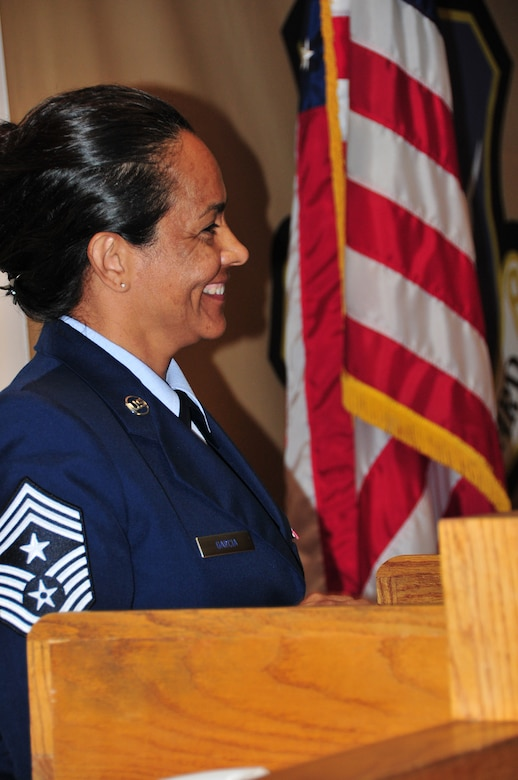 """Chief Master Sgt. Martha Garcia is the newly appointed Command Chief Master Sgt. for the 161st Air Refueling Wing, Phoenix, June 7, 2014. With more than 25 years of military service, Chief Garcia is the first female Command Chief for the 161 ARW. """"I am both honored and excited to serve as your wing Command Chief Master Sgt. I am truly humbled and look forward to the opportunity as serving as your enlisted voice…You are important, what you do is important and how you do it is critical to our success. Be proud of what you do and believe that you are important."""" (U.S. Air Force Photo by Staff Sgt. Courtney Enos/Released)"""