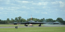 "A B-2 Spirit from the 509th Bomb Wing, Whiteman Air Force Base, Mo., lands on the runway at RAF Fairford, England, June 8, 2014. The B-2's low-observable, or ""stealth,"" characteristics give it the unique ability to penetrate an enemy's most sophisticated defenses and threaten its most valued, and heavily defended, targets. (U.S. Air Force photo by Staff Sgt. Nick Wilson/Released)"