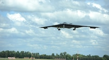 A B-2 Spirit from the 509th Bomb Wing, Whiteman Air Force Base, Missouri, prepares to land on the runway at RAF Fairford, England, June 8, 2014. The B-2 Spirit is a multi-role bomber capable of delivering both conventional and nuclear munitions. (U.S. Air Force photo by Staff Sgt. Nick Wilson/Released)
