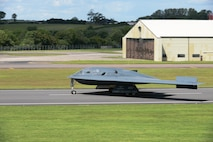 A B-2 Spirit from the 509th Bomb Wing, Whiteman Air Force Base, Mo., lands on the runway at RAF Fairford, England, June 8, 2014. The B-2's low-observability provides it greater freedom of action at high altitudes, thus increasing its range and a better field of view for the aircraft's sensors. Its unrefueled range is approximately 6,000 nautical miles. (U.S. Air Force photo by Tech. Sgt. Chrissy Best/Released)
