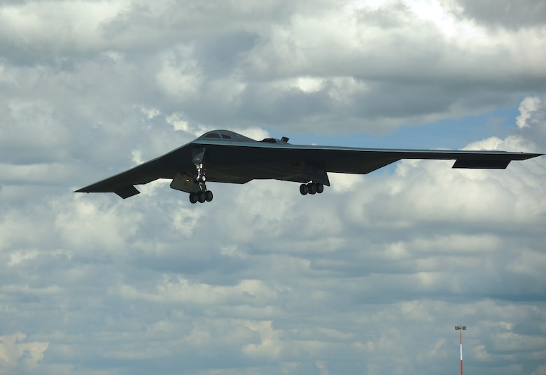 A B-2 Spirit from Whiteman Air Force Base, Missouri, prepares to land at RAF Fairford, England June 8, 2014. Two B-2 Spirits from Whiteman flew to the U.S. European Command area of to train and integrate with U.S. and allied military forces in the region. (U.S. Air Force photo by Candy Knight/Released)