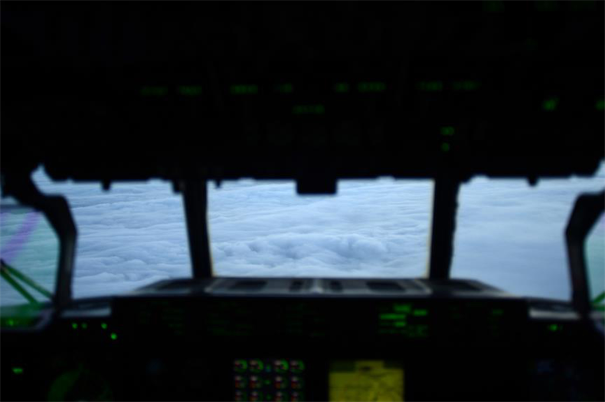 A WC-130J Hercules, from the 53rd Weather Reconnaissance Squadron, flies into Hurricane Sandy Oct. 29, 2012, over the Eastern coastline of the U.S. The 53rd WRS are sent to accomplish storm reconnaissance to gather real-time data on possible hurricanes and tropical disturbances. (U.S. Air Force photo/Staff Sgt. Jason Robertson)