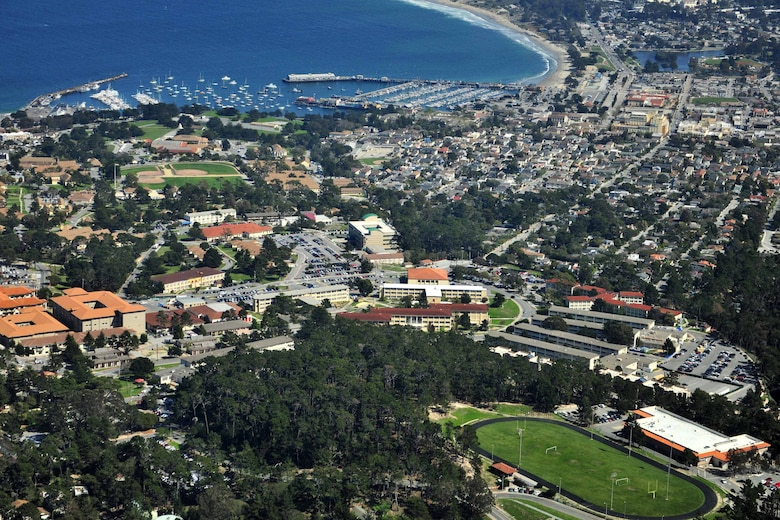 An aerial view shows the Presidio of Monterey located in Monterey, Calif., March 17, 2014. The Presidio is home to the Defense Language Institute and Foreign Language Center, training the active and reserve Army, Air Force, Navy and Marines as well as civilian personnel working in the federal government and various law enforcement agencies. The U.S. Army Corps of Engineers Sacramento District manages construction on several major projects at the Presidio of Monterey. The program incorporates the latest energy and water conservation technologies in order to operate more efficiently and in a sustainable, environmentally friendly manner.  (U.S. Army photo by Natela A. Cutter/Released)