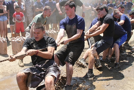 Poolees compete in a tug-o-war match at the annual Sergeant Major's Cup field meet June 7 at Jones Beach in Wantagh, N.Y.