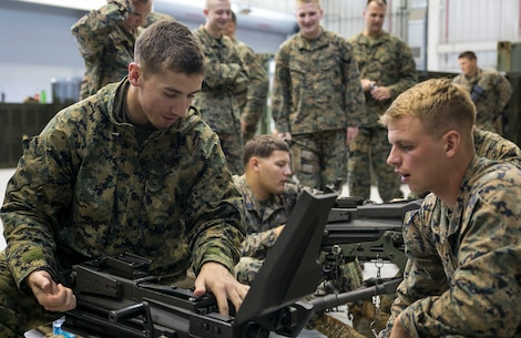 Cpl. Dennis E. Zeller, right, instructs Lance Cpl. Keith M. Raymond on the fundamentals of the MK19 40 mm automatic grenade launcher June 5 on Camp Mujuk, South Korea. The U.S. Marines familiarized themselves with the crew served weapon to enhance safety on ranges where they will train Republic of Korea Marines on the weapons employment as part of Korean Marine Exchange Program 14-8. KMEP 14-8 is one iteration in a series of continuous combined training exercises designed to enhance the ROK-U.S. alliance, promote stability on the Korean Peninsula, and strengthen ROK-U.S. military capabilities and interoperability. Zeller and Raymond are military policemen with 3rd Law Enforcement Battalion, III Marine Expeditionary Force Headquarters Group, III MEF. (U.S. Marine Corps photo by Lance Cpl. Drew Tech/Released)