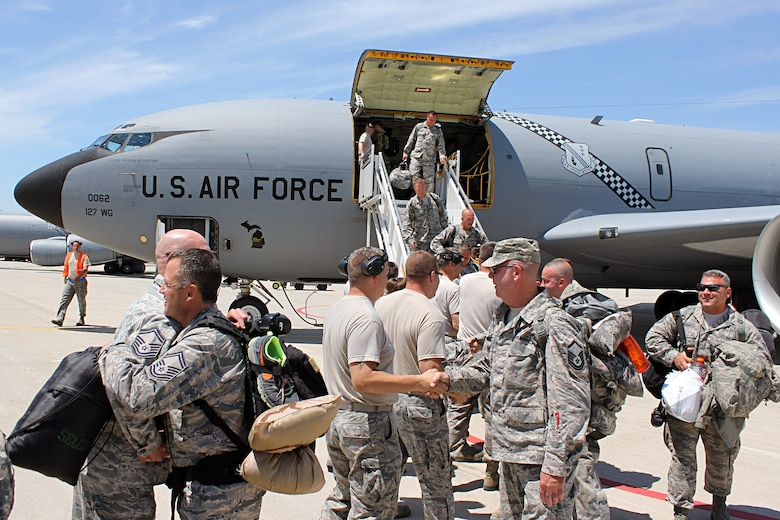 "140609-Z-VA676-012 - Airmen of the 127th Air Refueling Group return to their home station of Selfridge AirNational Guard Base, Mich., June 9, 2014, after a deployment to southwest Asia and the Central Command Area of Responsibility. The deployment for the 127th ARG was the last of a three-year-long series of ""rolling mobilizations"" during which small groups of Selfridge Airmen -- and often one or two KC-135s -- were forward deployed on an ongoing basis. With the conclusion of the rolling mobilizations, the 127th ARG will return to a more traditional Air Expeditionary Force schedule for possible future deployments, meaning more members of the unit will likely deploy if called upon, but will likely deploy less often. (U.S. Air National Guard photo by TSgt. Dan Heaton)"