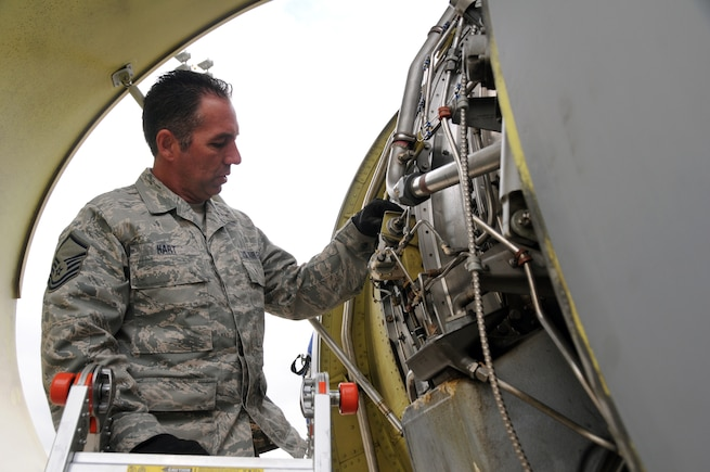 Master Sgt. Tim Hart, 151st Maintenance Group, inspects the engine of a KC-135R Stratotanker at NATO Air Base Geilenkirchen, Germany, during a training exercise in May 2014. (Utah Air National Guard photo by Staff Sgt. Annie Edwards/RELEASED)