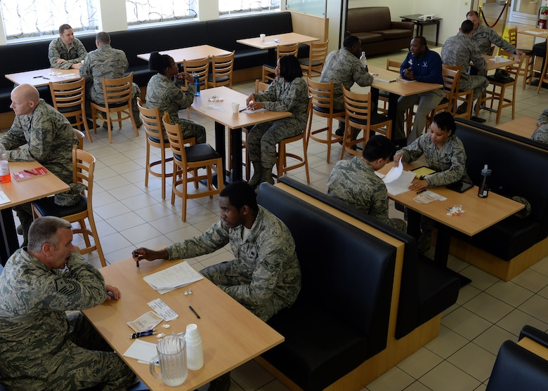 U.S. Air Force Airmen participate in the first 52nd Force Support Squadron speed-mentoring event in the Mosel Dining Hall at Spangdahlem Air Base, Germany, June 6, 2014. Thirteen senior enlisted volunteered to become mentors to the 12 participating Airmen. The event coordinators gave the participating Airmen three minutes to talk with the potential mentors, a time which did not allow for deep discussion but rather offered a chance to gauge compatibility. (U.S. Air Force photo by Staff Sgt. Daryl Knee/Released)