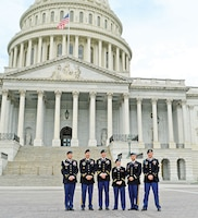 Soldiers with the 2nd ABCT pose for a photo in front of the U.S. Capitol building's east front May 28 before meeting with congressional staff to share their experiences as members of the Army's first regionally aligned brigade.