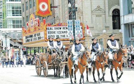 Members of the Commanding General's Mounted Color Guard participate in the annual Memorial Day parade May 24 in Chicago.  The Chicago parade is considered one of the largest Memorial Day parades in the nation.  Since 1870, Memorial Day parades have graced the streets of Chicago.