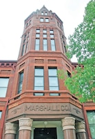 The red brick spire of the Historic Marshall County Courthouse can be seen jutting above the tree line on the drive into Marysville, Kan.  The museum preserved several original courthouse rooms and created themed rooms showcasing the area's history.