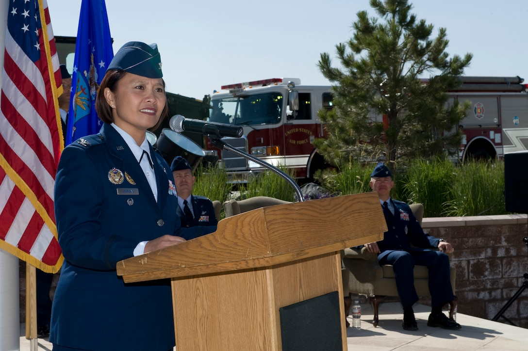 Col. Rose Jourdan, 460th Mission Support Group commander, provides closing remarks at the 460th MSG change of command ceremony June 10, 2014, at the 460th Space Wing Headquarters on Buckley Air Force Base, Colo. During the ceremony, Jourdan assumed command of the 460th MSG from Col. Robert Uemura, who served as the commander since June 2012. (U.S. Air Force photo by Senior Airman Phillip Houk/Released)