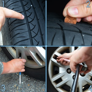 "Before embarking on a summer road trip, drivers should exercise proper vehicle preparation, with tire care being especially important. 1) Visually inspect tire tread. 2) Use the ""penny test"" to determine the amount of tread left. If the tread does not cover Lincoln's head, you may need to replace the tire. 3) Use a pressure gauge to check tire pressure. 4) Inflate tires to the manufacturer-recommended pressure. (U.S. Air Force photo illustration by Senior Airman Jason J. Brown/Released)"