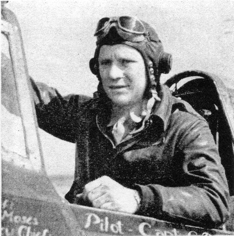 "Capt. George D. Pieck of the 404FS claimed a Luftwaffe Me-109 in the 371FG's first day of air combat in Europe.  He went Missing in Action on  August 10, 1944, over France. He is remembered on the Tablets of the Missing at the Brittany American Cemetery, St. James, France. (Courtesy ""The Story of the 371st Fighter Group in the E.T.O."")"