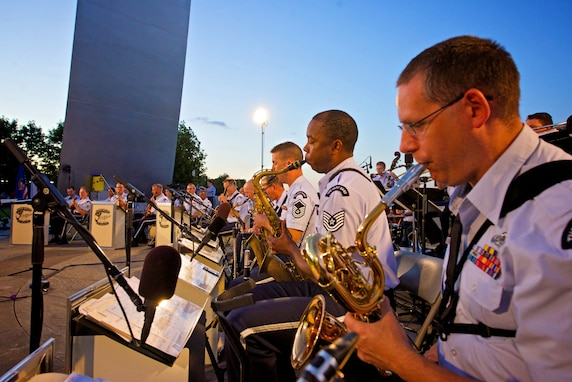 The Airmen of Note & Air Force Strings perform as the USAF Studio Orchestra at the Air Force Memorial (photo by CMSgt Jeb Eaton).