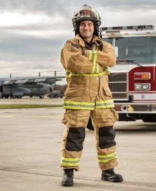 Andrew Pepin talks about his future, he describes a career path that's red hot with embers he's stoked thoughtfully, methodically and academically, every step of the way. Pepin is a civilian firefighter with the Air National Guard's 179th Airlift Wing located in Mansfield, Ohio. (Photo by Keith Berr/PHOENIX PATRIOT Winter 2014)