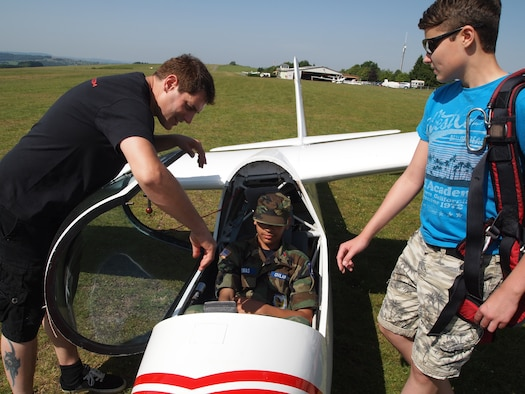 Civil Air Patrol Cadet Teagan Thomas receives instruction on an ASK-21 Glider June 8, 2014, as part of a CAP Flight Orientation Program. The cadets started the day learning the basics of glider flight and were soon flying the gliders hundreds of feet above the Eifel. (Courtesy photo/released)