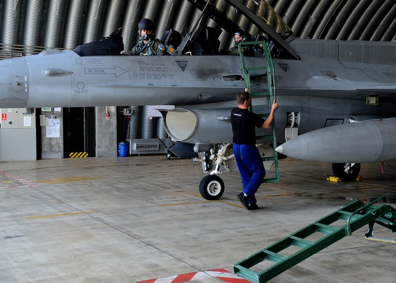 Polish air force Warrant Officer Cichecki Martin, crew chief, removes a ladder from an F-16 Fighting Falcon fighter aircraft in preparation for Exercise EAGLE TALON at Lask Air Base, Poland, June 10, 2014. NATO allies were either on a blue and red team to simulate friendly and enemy aircraft. During combined exercises such as these, pilots train in a simulated environment to enhance air-to-air and air-to-surface capabilities. (U.S. Air Force photo by Airman 1st Class Kyle Gese/Released)