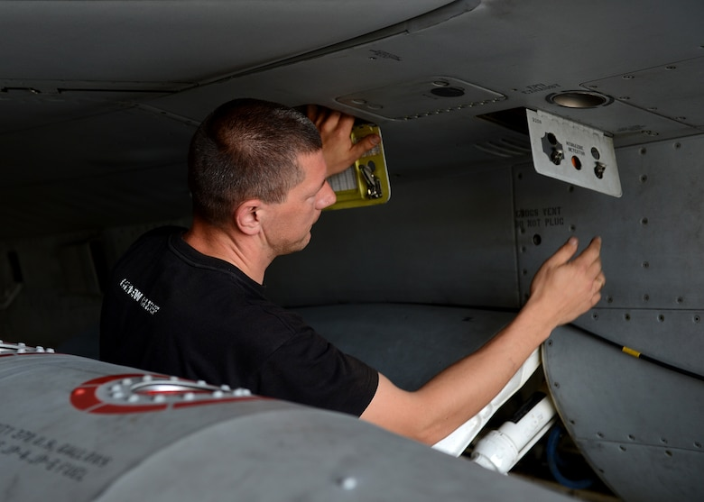 Polish air force Warrant Officer Cichecki Martin, crew chief, prepares an F-16 Fighting Falcon fighter aircraft for flight at Lask Air Base, Poland, June 10, 2014. Exercise EAGLE TALON, a Polish-led exercise, was first a Polish national exercise that has expanded to a NATO combined exercise in the past few years. Exercise EAGLE TALON trains pilots to attack and defend targets with NATO allies, which increases understanding of other nation's tactics and techniques for future NATO operations. (U.S. Air Force photo by Airman 1st Class Kyle Gese/Released)